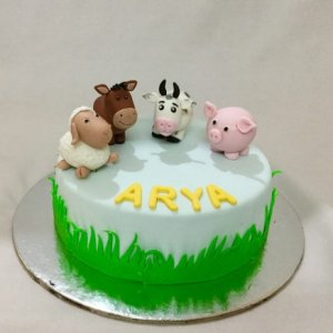 5th Birthday  Animals Farm theme Cake