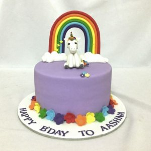 Colourful Unicorn Birthday cake