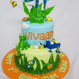 Insects and Frogs Birthday theme Cake
