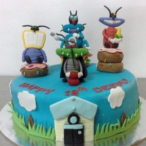 Oggy & Cockroaches theme Birthday Cake