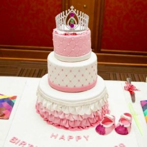 1st Birthday  3 Tier Tiara theme Cake