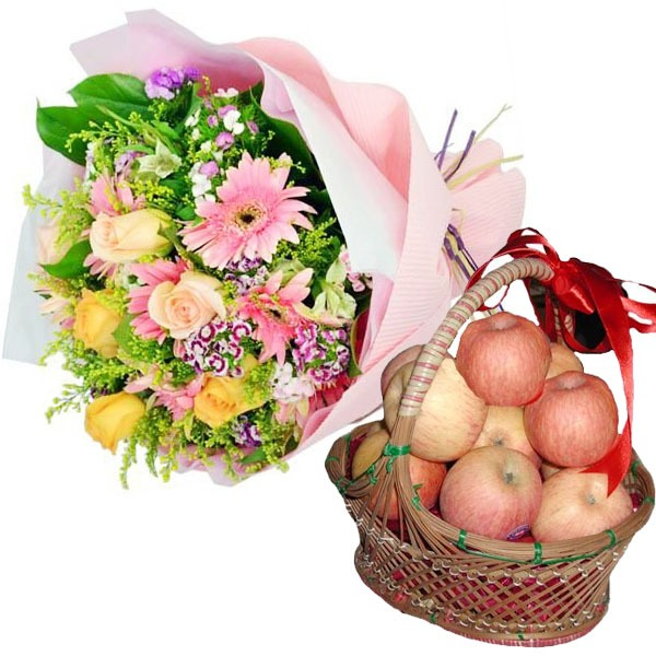 BIRTHDAY APPLES BASKET WITH FLOWERS