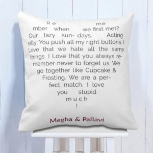 Personalised Cushion For Met My Love