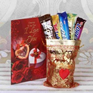 Imported Chocolate Bars With I Love You Greeting Card