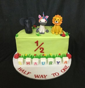Half Birthday Animals theme Cake