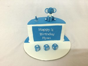Half Birthday Cake Elephant theme