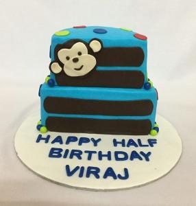 Half Birthday Cake Monkey theme