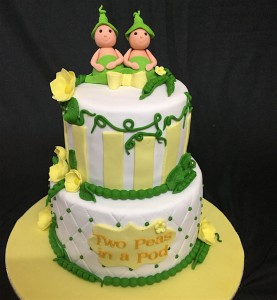 Peapod Twins Baby Shower Cake