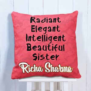 Personalised Cushion For Lovely Sister