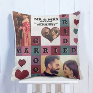 Personalised Cushion Mr.& Mrs With Dates