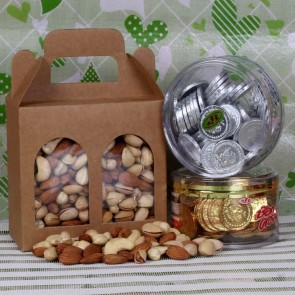 Assorted Dry Fruit With Sliver And Gold Chocolate Coin