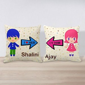 Personalised Cushion Love Him & Her