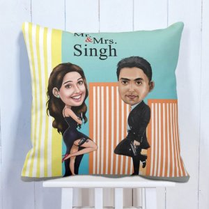 Personalised Cushion Love Forever Caricature