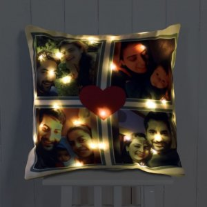 Personalised Cushion Love LED Photo