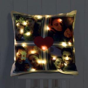 Personalised Cushion Love LED Photo