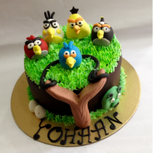 Colorful Angry Bird Theme Cake