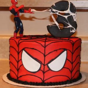 spiderman design cake